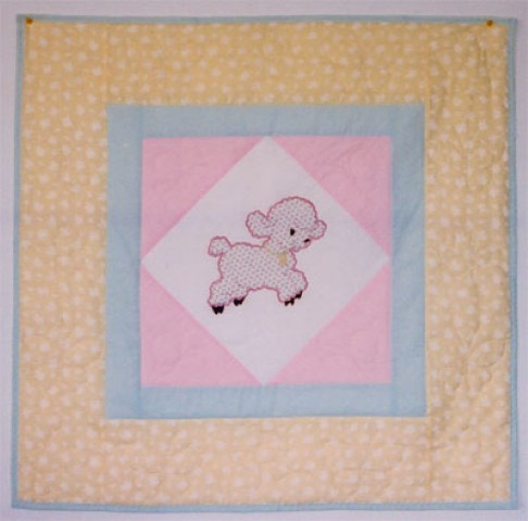 Little Lamb Applique Quilt I made for my friend and gave as a gift at her baby shower.