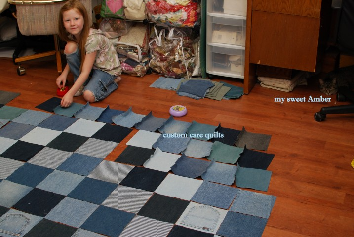 My niece helping me pin the squares.