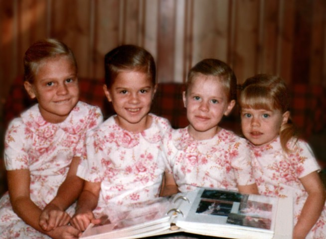 Homemade dresses--four sisters 1983