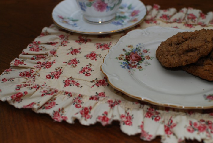 Frayed edges of Vintage tea-time mat